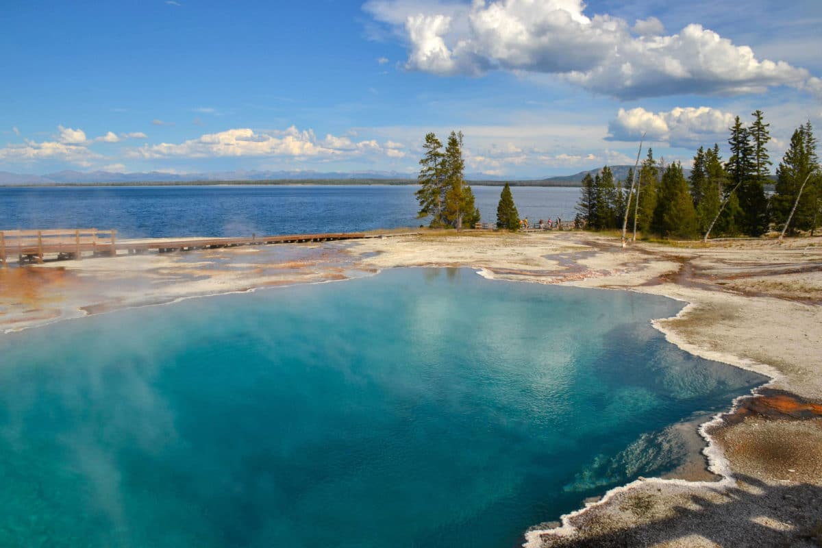 West Thumb Geyser Basin and Yellowstone's Artist Point on map of grand prismatic spring, map of yellowstone geysers, map of mud volcano, map of firehole canyon drive, map of mystic falls, map of yellowstone national park, map of old faithful area, map of yellowstone river,
